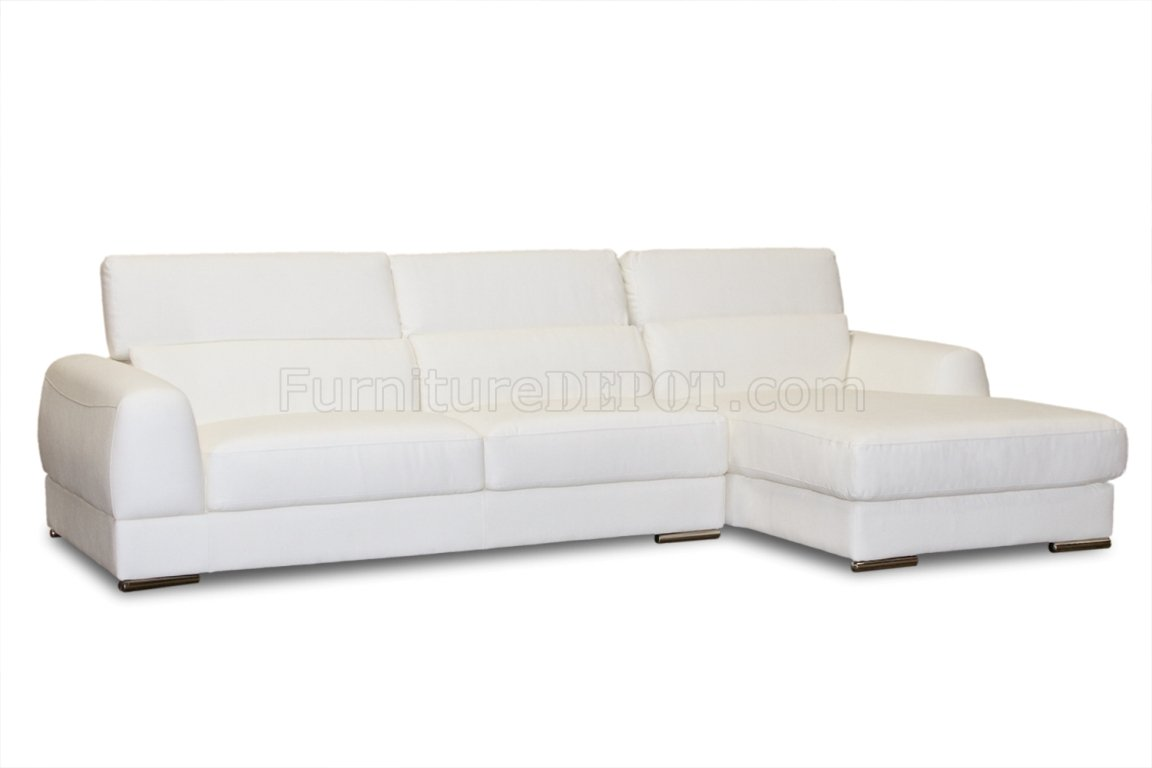 White Bonded Leather Modern Chicago Sectional Sofa