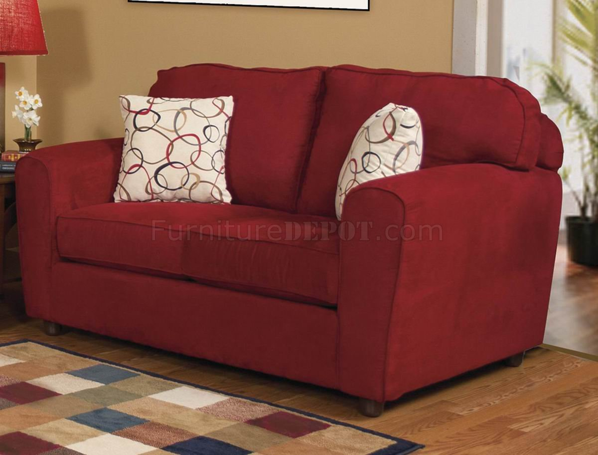Red Fabric Modern Sofa Amp Loveseat Set W Options