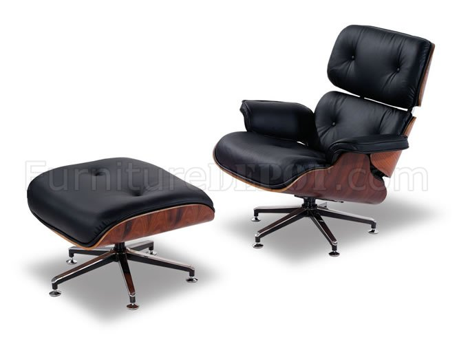 Contemporary Lounge Chair In Black Leather Upholstery