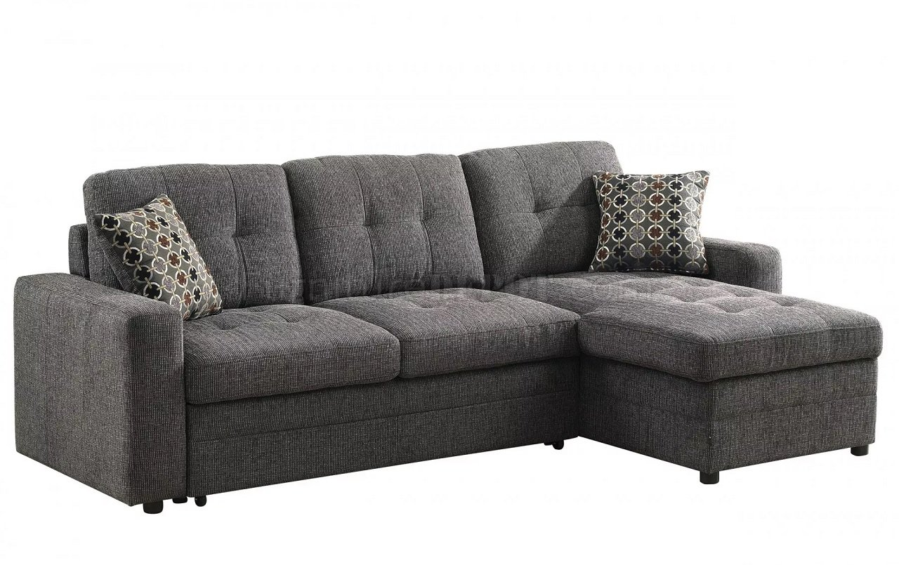 Gus Sectional Sofa 501677 By Coaster In Fabric W Sleeper