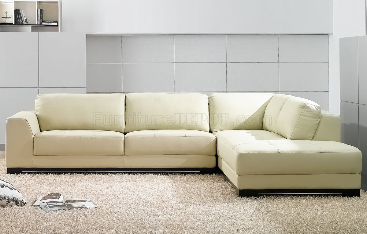 Sf6573 ivory full leather modern sectional sofa by at home usa for Modern sectional sofas