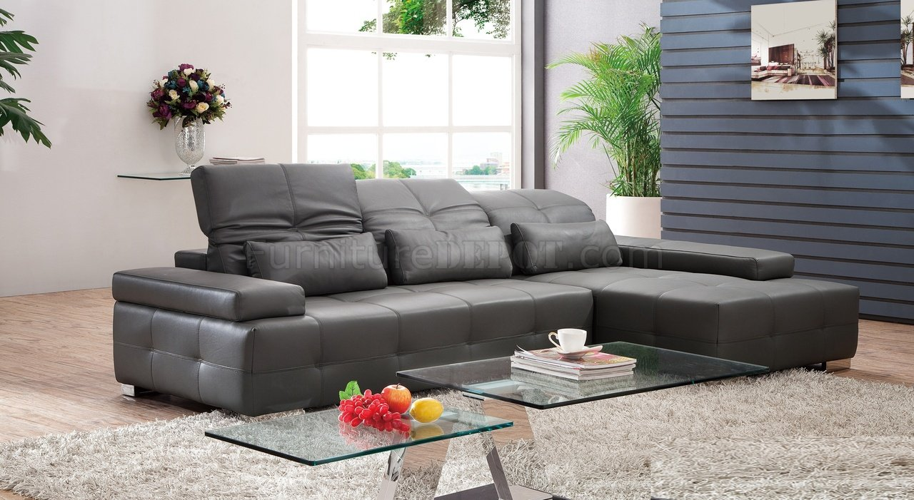 sectional sofa in dark gray leather by pantek pkss s812 dg dark gray
