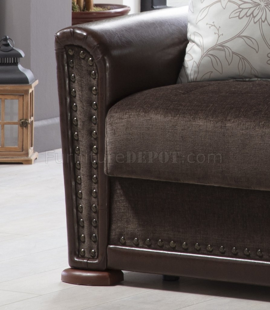 Alfa Jennifer Brown Sofa Bed In Fabric Amp Leatherette By