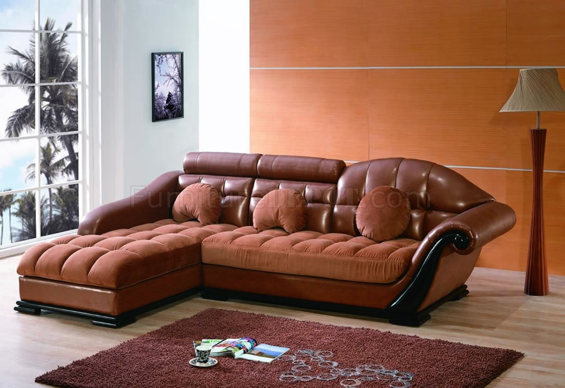 bycast leather micro suede twotone brown sectional sofa p