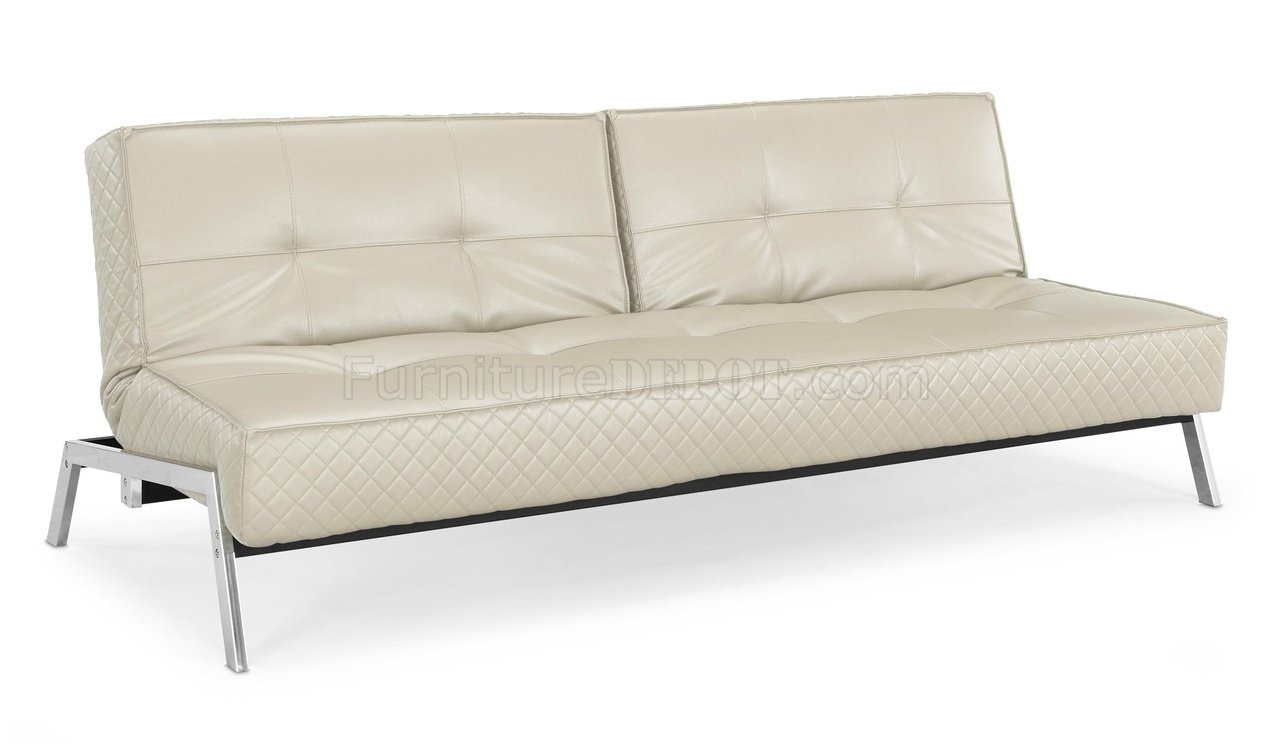 Bonded Leather Modern Convertible Sofa Bed w Chrome Legs