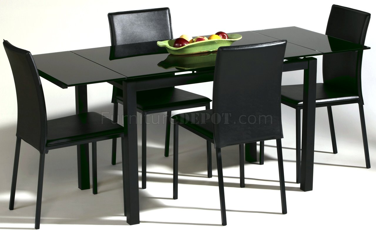 Black glass top modern dining table w optional chairs for Black glass dining table