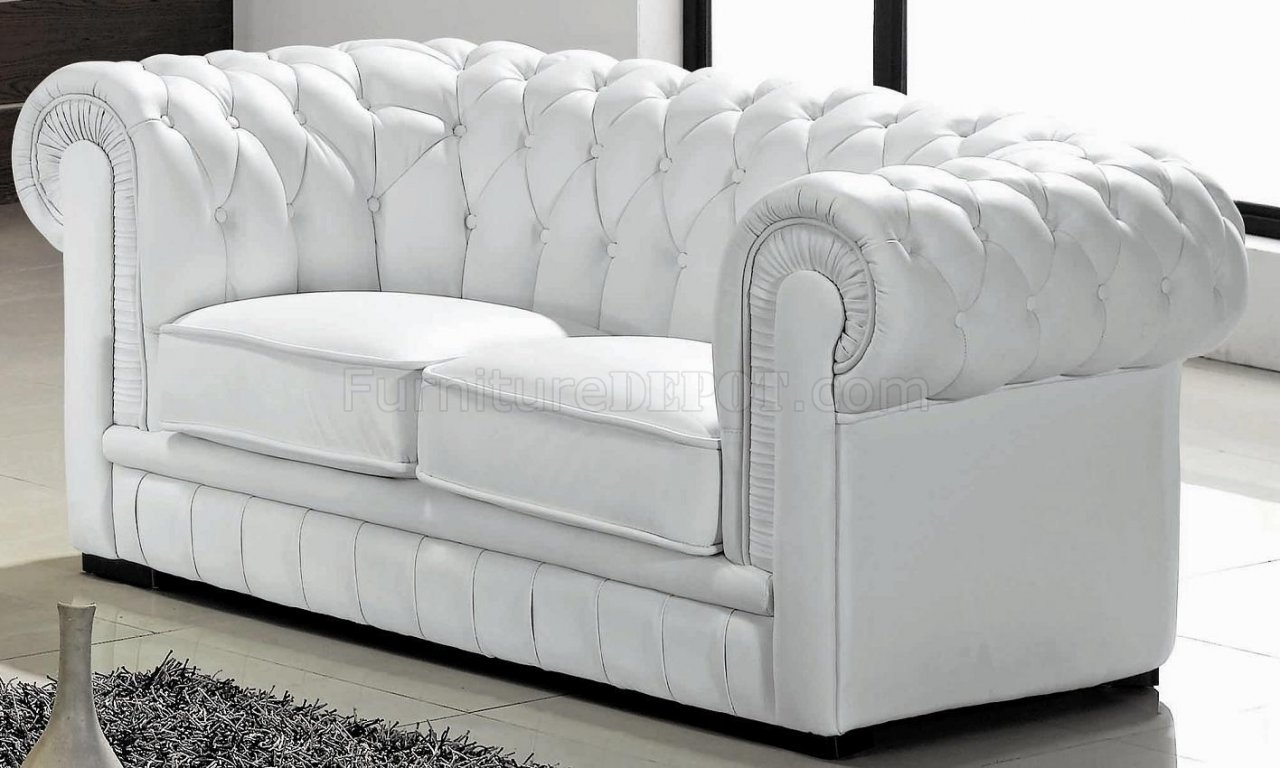 Paris ultra modern white living room furniture sofa sets - White Leather Ultra Modern 3pc Living Room Set W Wood Legs