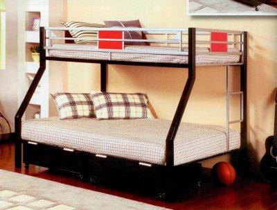 Black Metal Base Modern Twin Over Full Bunk Bed