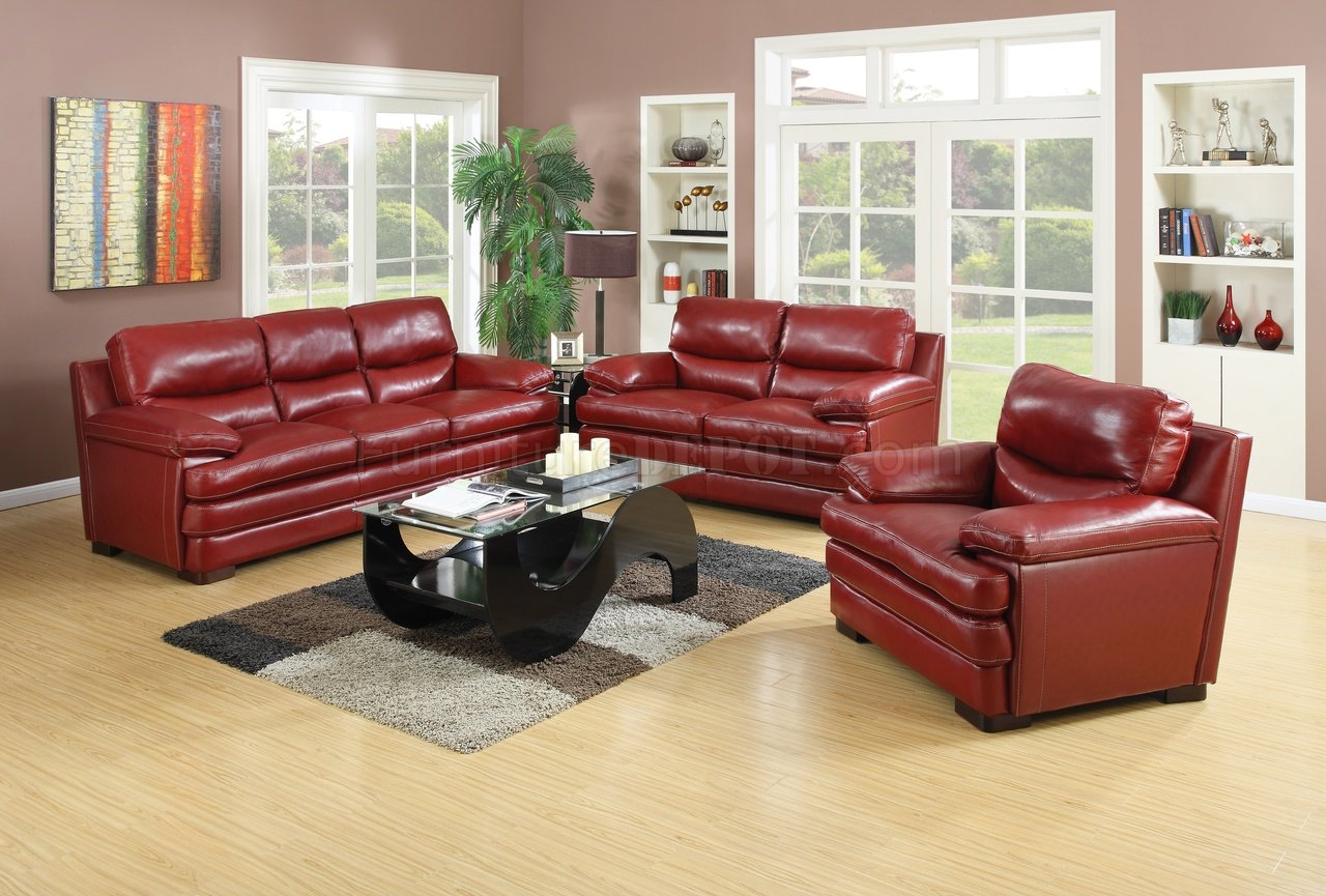 Wilton Sofa & Loveseat Burgundy Leather Match by Mstar w/Options