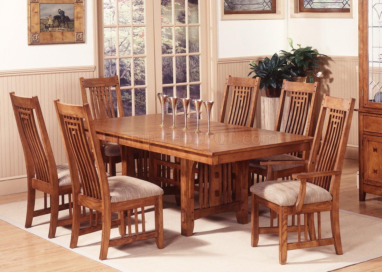 Mission Oak Finish Casual Dining Room Table W Options