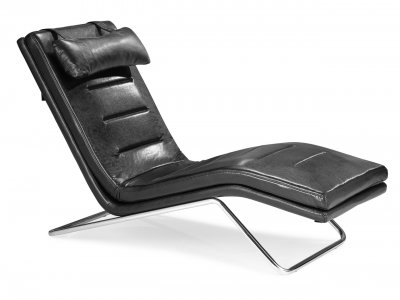 Contemporary Furniture Chaise on Modern Chaise Lounger W Chromed Steel Frame At Furniture Depot