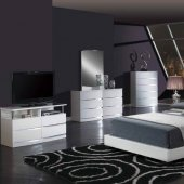 8103 Aurora White 5Pc Bedroom Set By Global W/Upholstered Bed