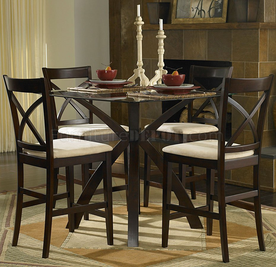 Warm Cherry Modern Glass Top 5 Pc Counter Height Dinette Set