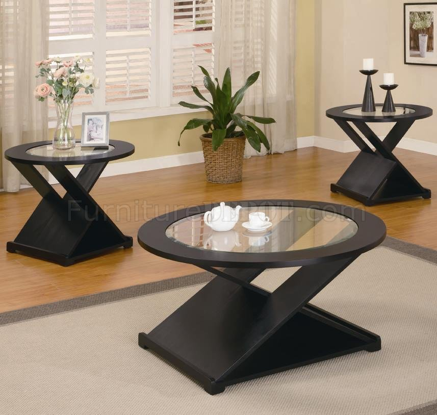Rich black finish modern 3pc coffee table set w round glass tops Modern coffee and end tables