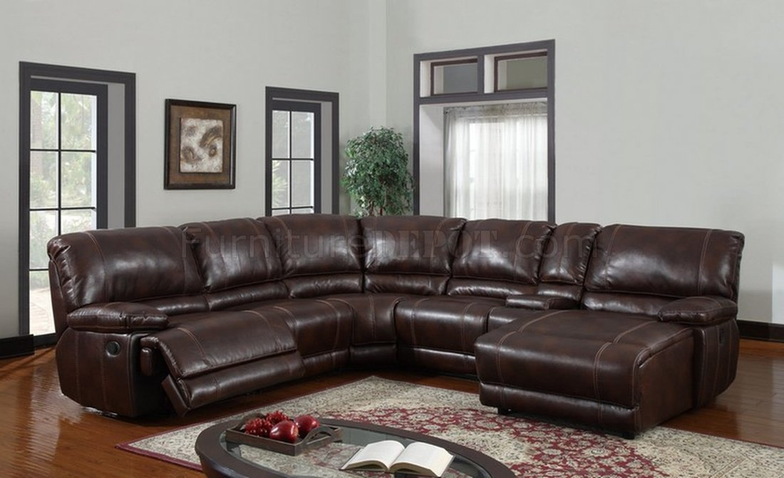 U1953 6pc Reclining Sectional Sofa in Brown Bonded Leather