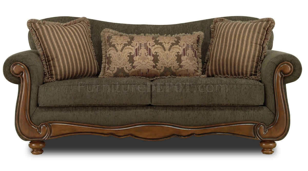 Pine fabric traditional sofa loveseat set w rolled arms Fabric sofas and loveseats