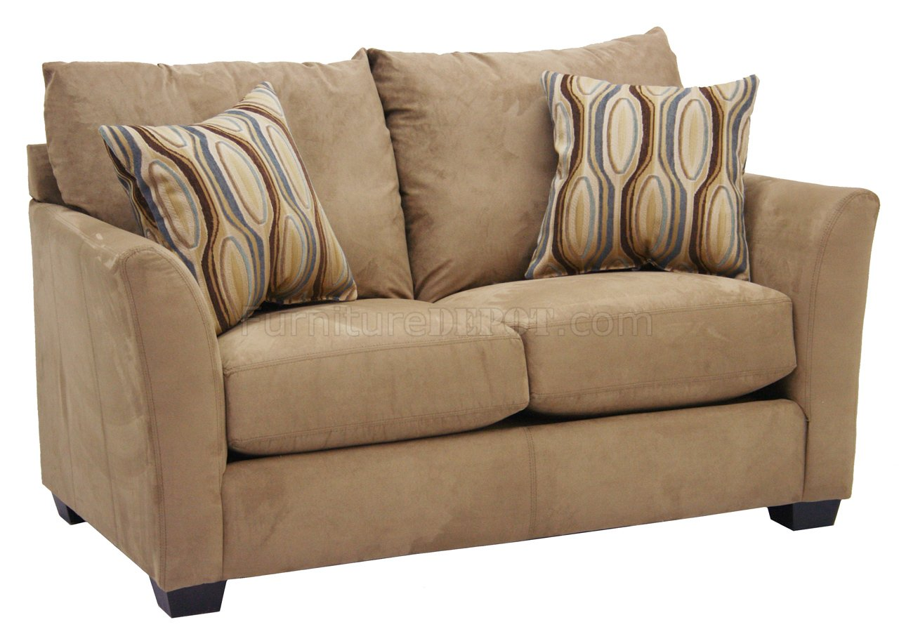 Beige Suede Fabric Modern Sofa Loveseat Set W Options
