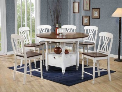 White Amp Walnut Finish 5pc Counter Height Dining Set W Options