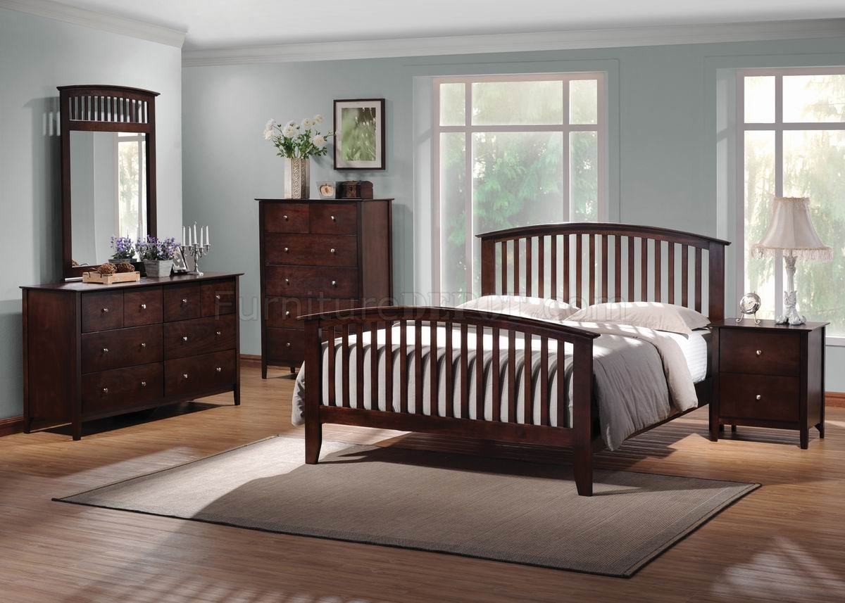 rich merlot finish transitional 5pc bedroom set w queen