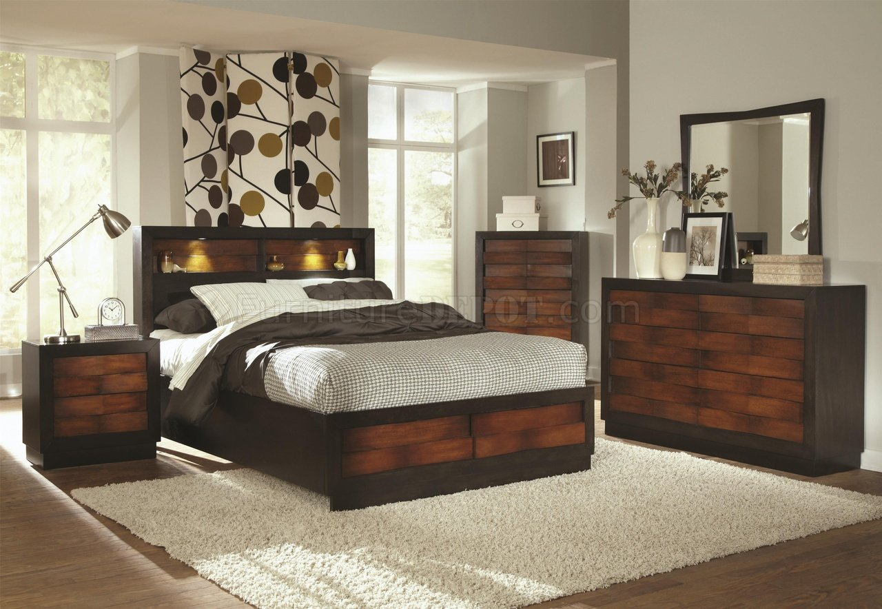 202911 Rolwing Bedroom by Coaster in Oak Espresso wOptions