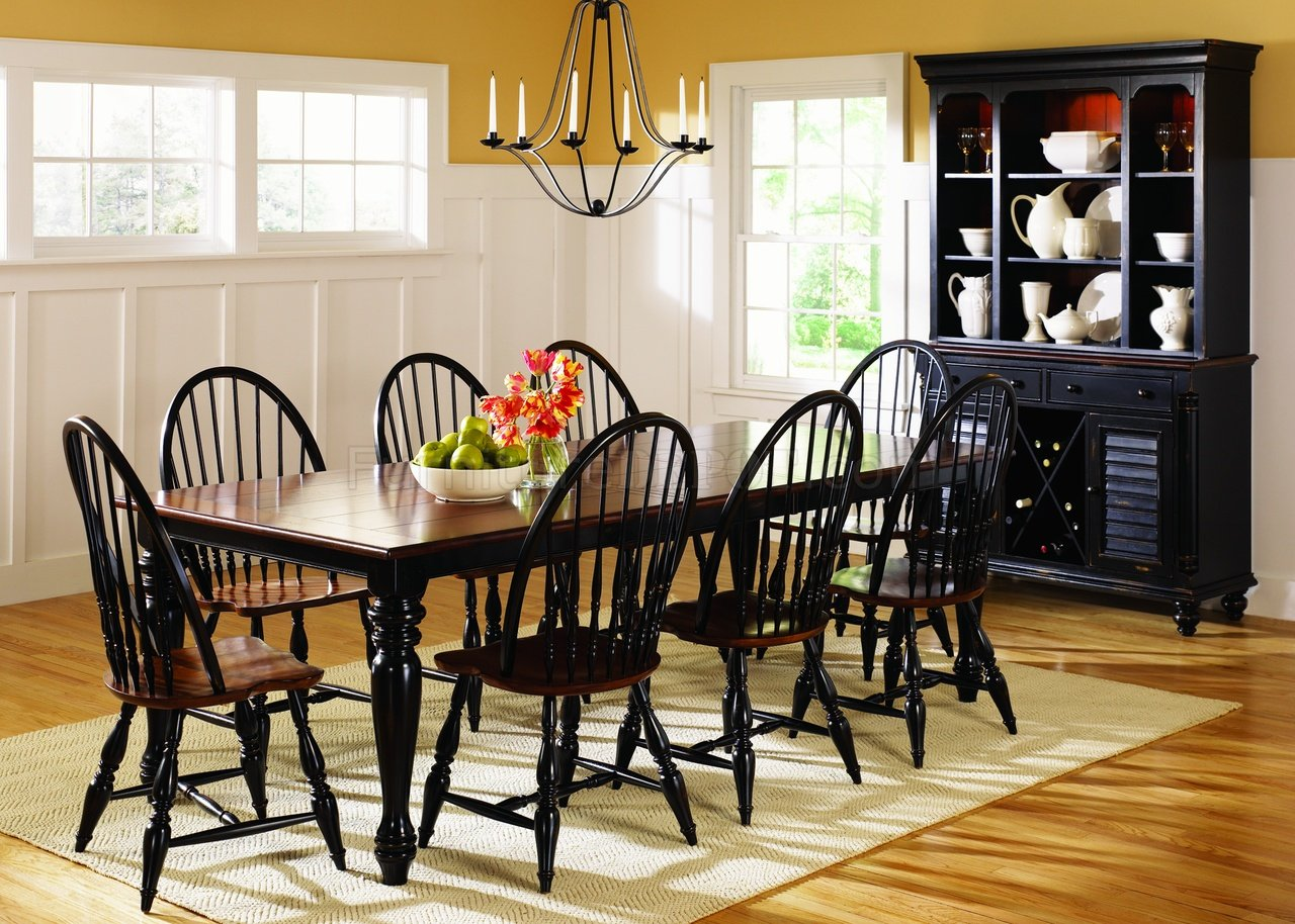 Black cherry two tone finish casual dining table w options for 2 tone dining room sets