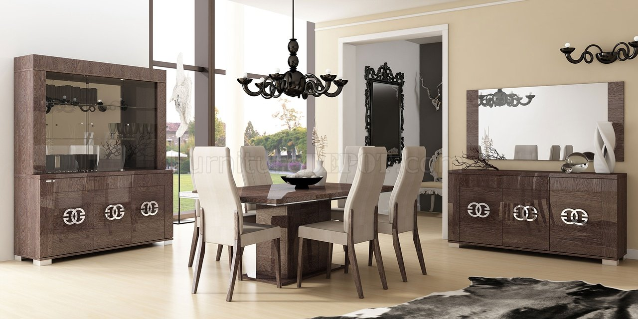 Walnut Living Room Furniture Sets Prestige Dining Table In High Gloss Walnut By Esf W Options