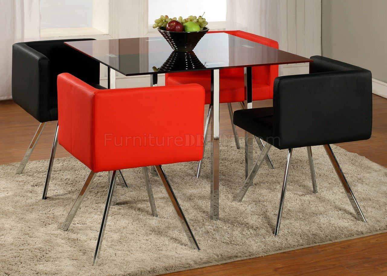red and black dining room sets | Black & Red Two-Tone Finish Modern 5Pc Dining Set w/Chrome ...