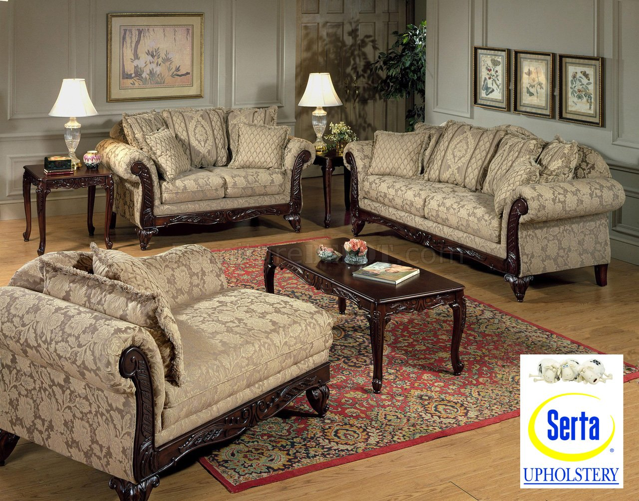 Beige clarissa carmel fabric traditional 2pc sofa set w for Traditional furniture