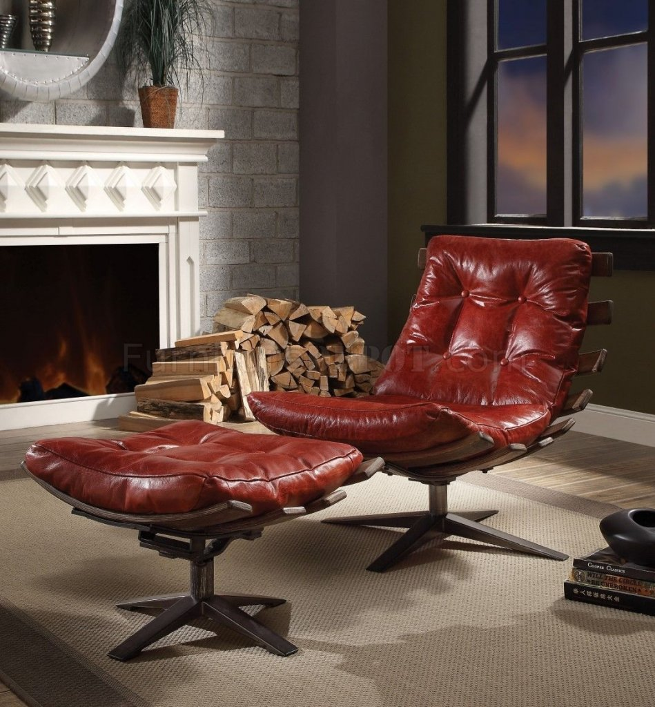 Pleasing Gandy Swivel Chair Ottoman Set 59531 By Acme In Red Leather Creativecarmelina Interior Chair Design Creativecarmelinacom