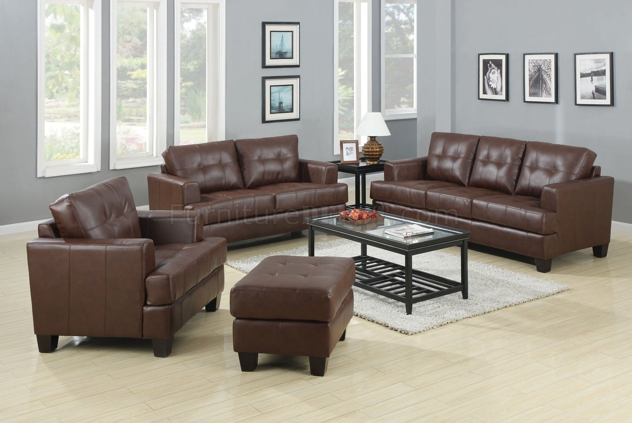 Samuel sofa loveseat set brown leatherette 504071 by coaster for Brown leather living room set