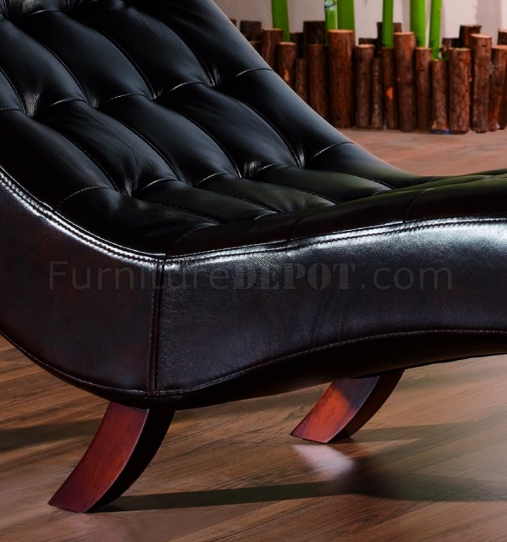 Brown leather upholstery contemporary chaise lounge for Brown leather chaise lounge