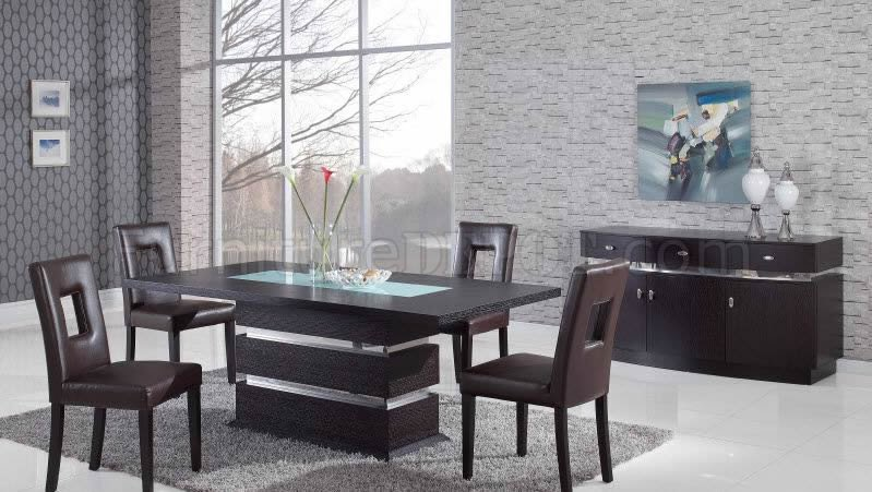 Brown Modern Pedestal Dining Table W Glass Inlay Options