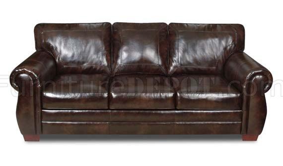 Encore Vintage Bonded Leather Sofa Loveseat Set W Options