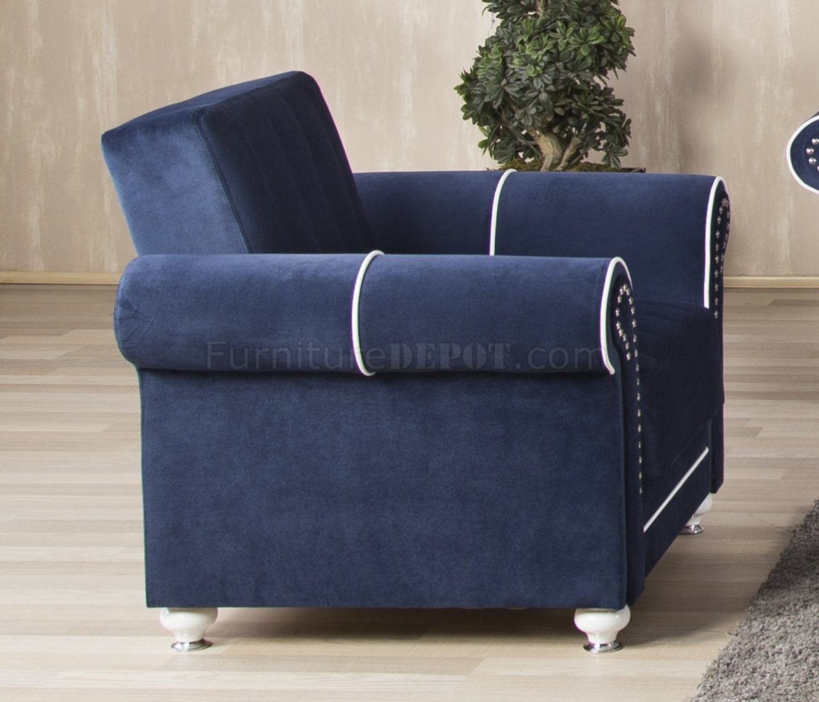 Royal Home Sectional Sofa In Dark Blue Fabric By Casamode
