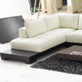 Beige Leather Modern Sectional Sofa w/Wooden Base