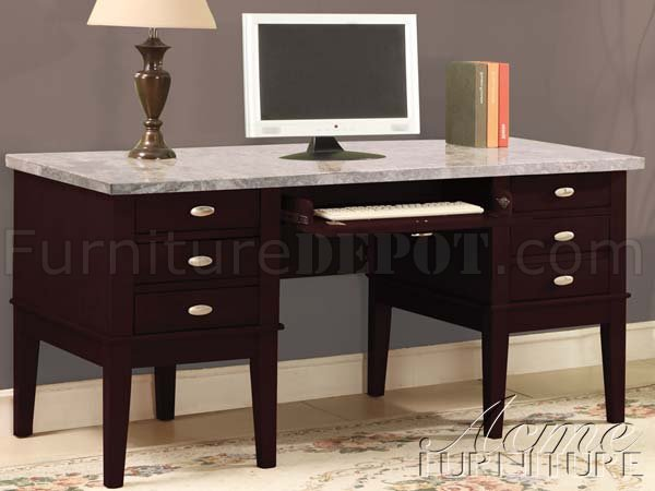 Espresso Finish  Marble Top Britney Classic Home Office Desk