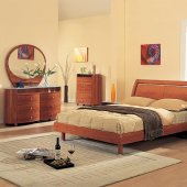 Cherry High Gloss Finish Modern Bedroom Set