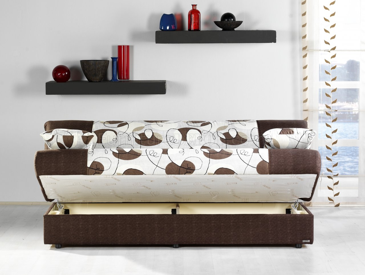 Regata Sofa Bed In Ceres Cream Amp Brown Fabric W Storage