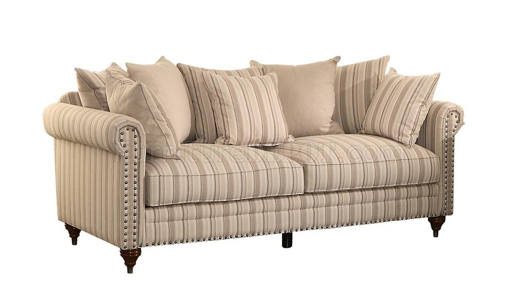 Hadleyville Sofa 8455 In Stripe Fabric By Homelegance W Options