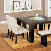 Dark Chocolate Finish 7Pc Dinette Set With Glass Inlay