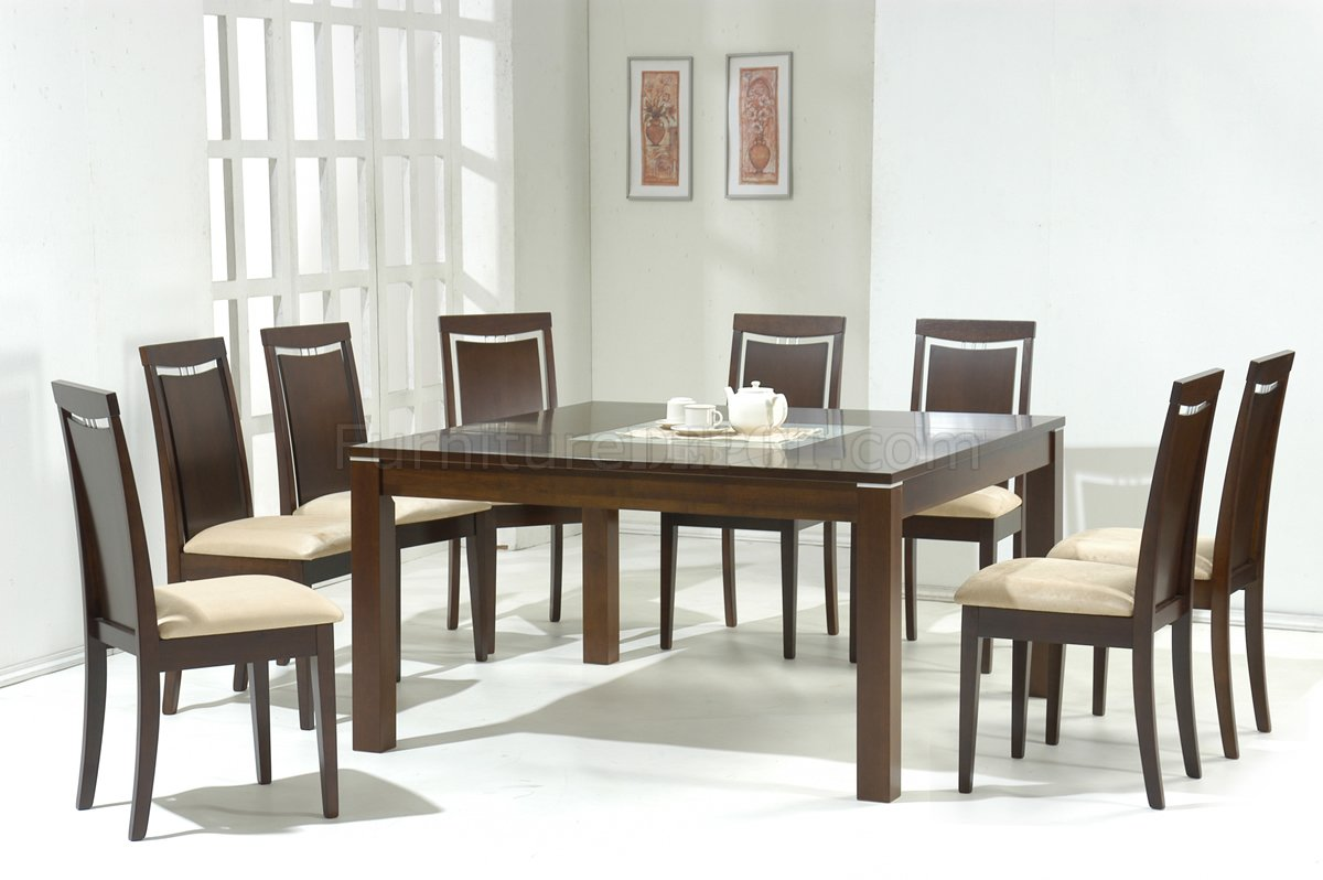 Dark walnut modern dining table w glass inlay optional for Contemporary dining room sets