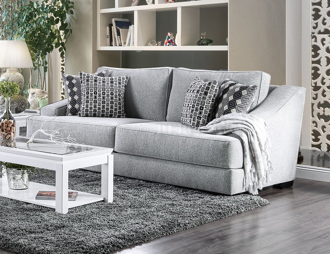Lesath Sofa Sm2251 In Light Gray Chenille Fabric W Options