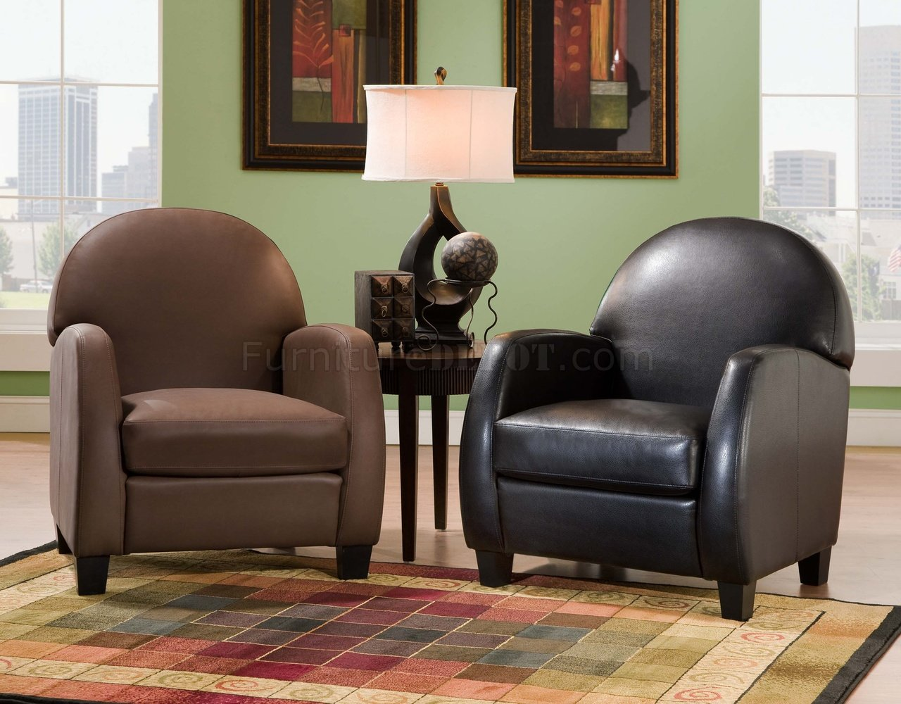 Brown Or Black Bonded Leather Modern Elegant Accent Chair