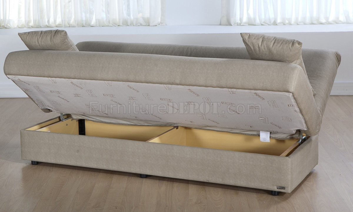 Delightful Couch Bed With Storage Part - 14: Beige Microfiber Modern Convertible Sofa Bed W/Storage