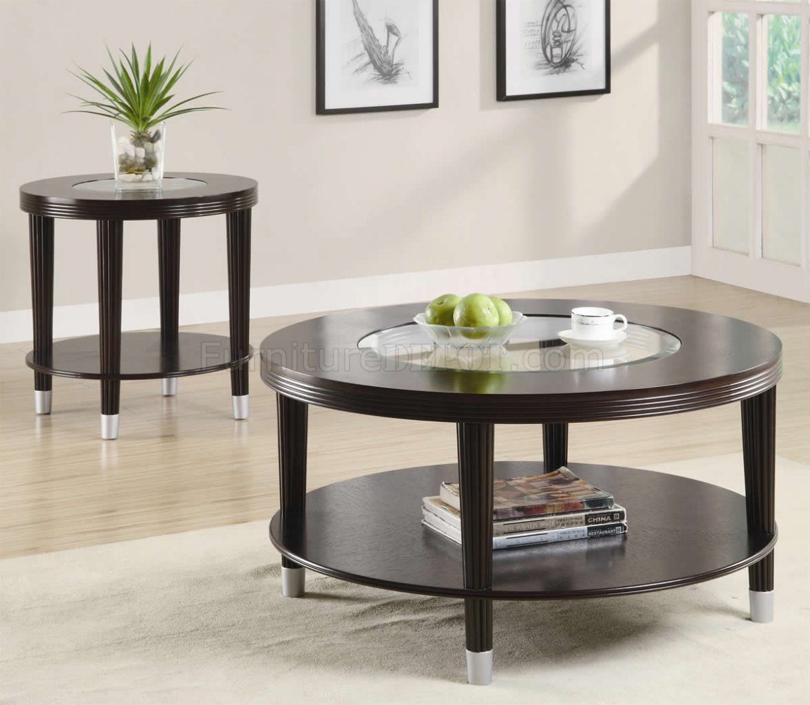 Cappuccino finish modern coffee table w optional end table Modern coffee and end tables