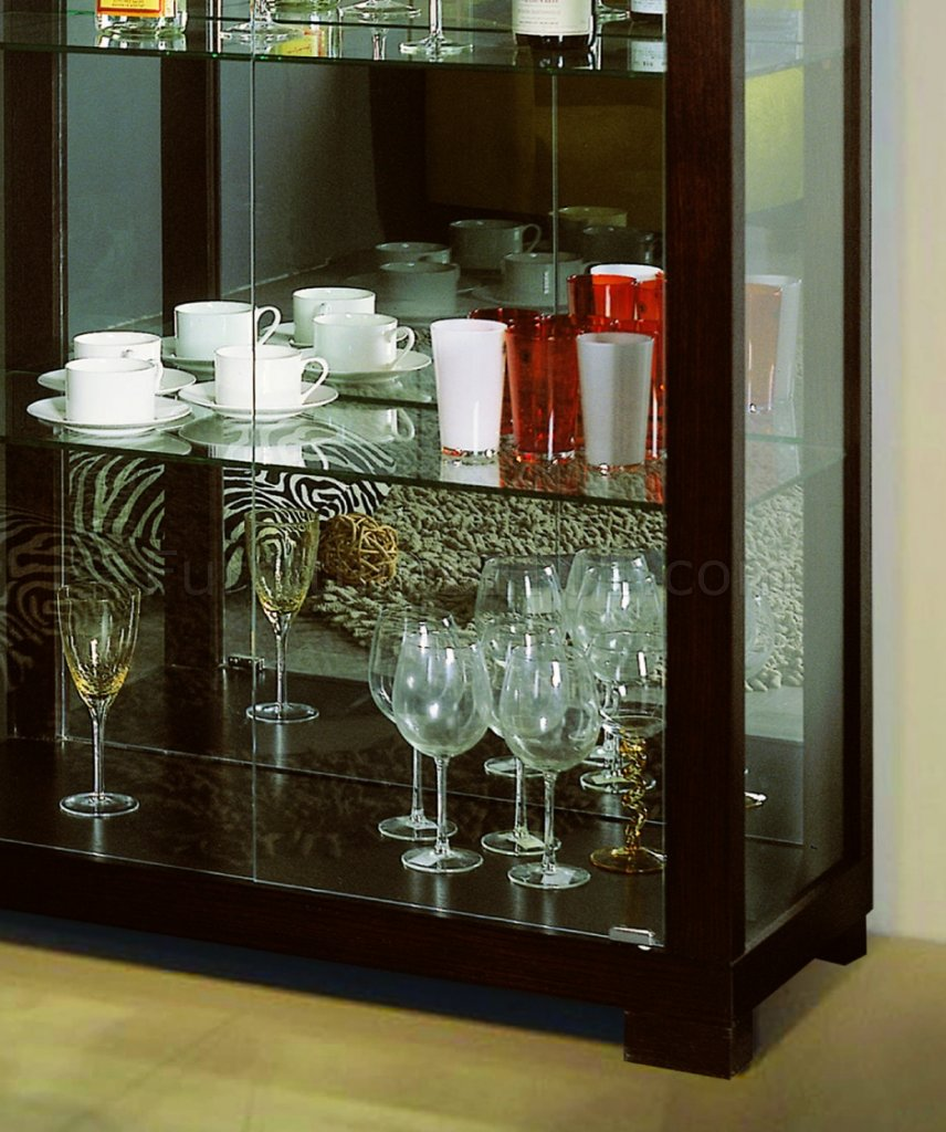 Lovely Wenge Finish Contemporary Glass Door China Cabinet BV05