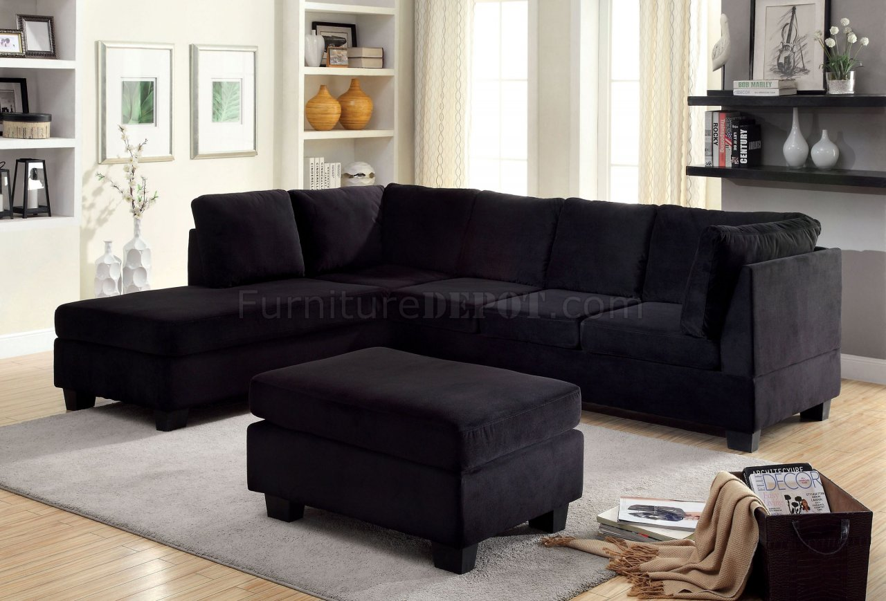 Lomma sectional sofa ottoman set cm6316 in black fabric for Black couch set