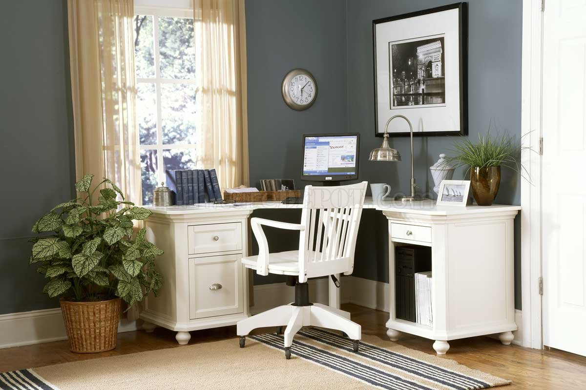 Home Office Design Ideas: 8891 Hanna White Home Office Corner Desk W/Options