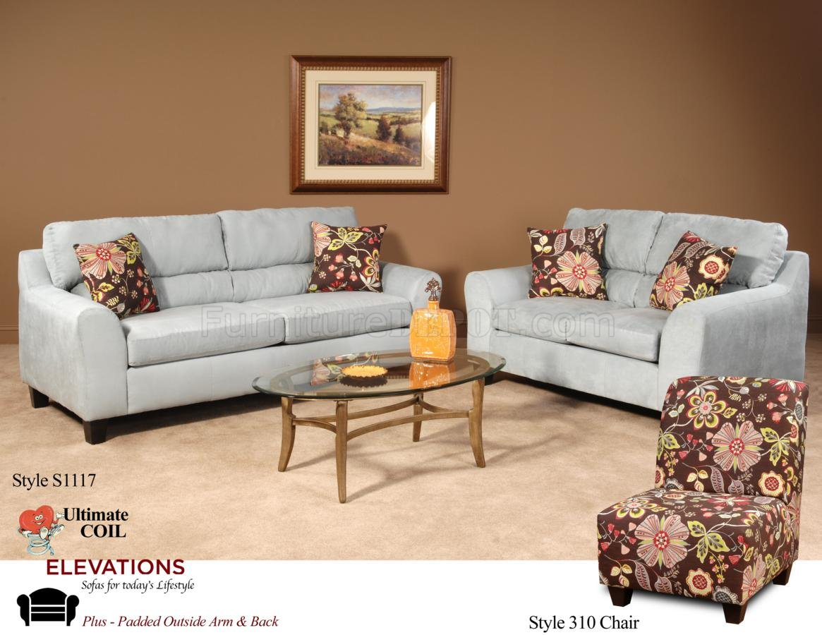 Light Blue Fabric Modern Sofa & Loveseat Set w/Options