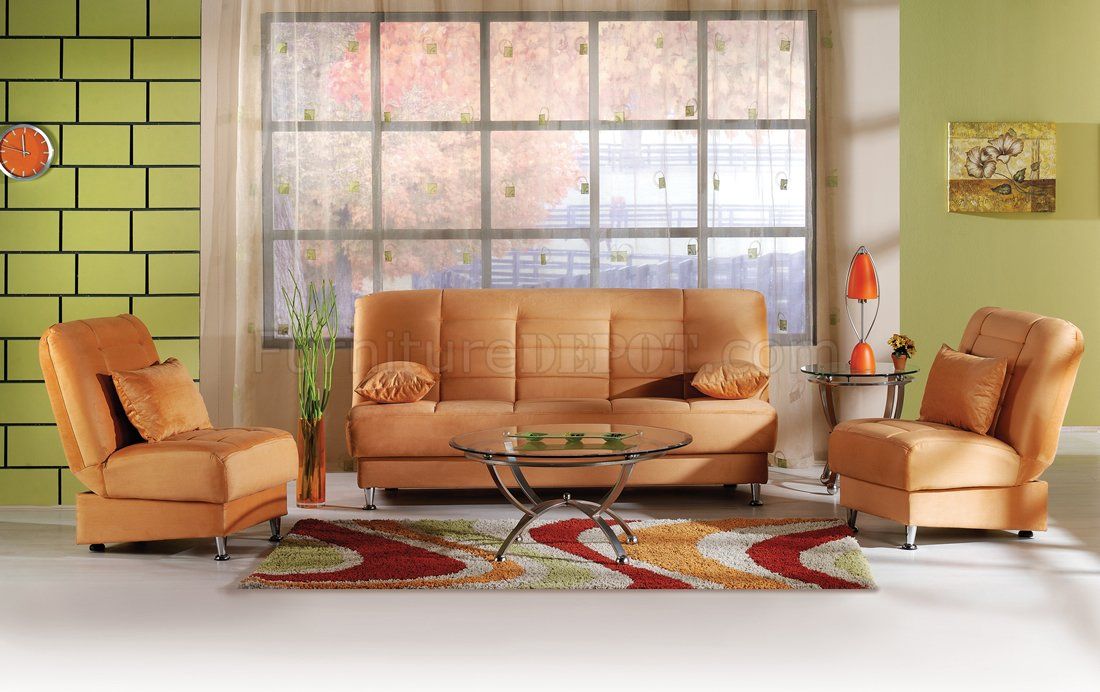 Vegas Rainbow Storage Sofa Bed In Light Orange Microfiber By Sunset
